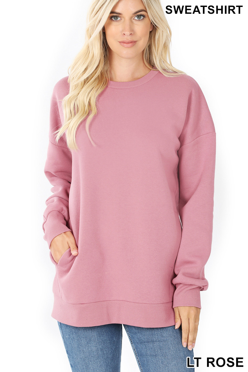 Front image of Light Rose Round Crew Neck Sweatshirt with Side Pockets