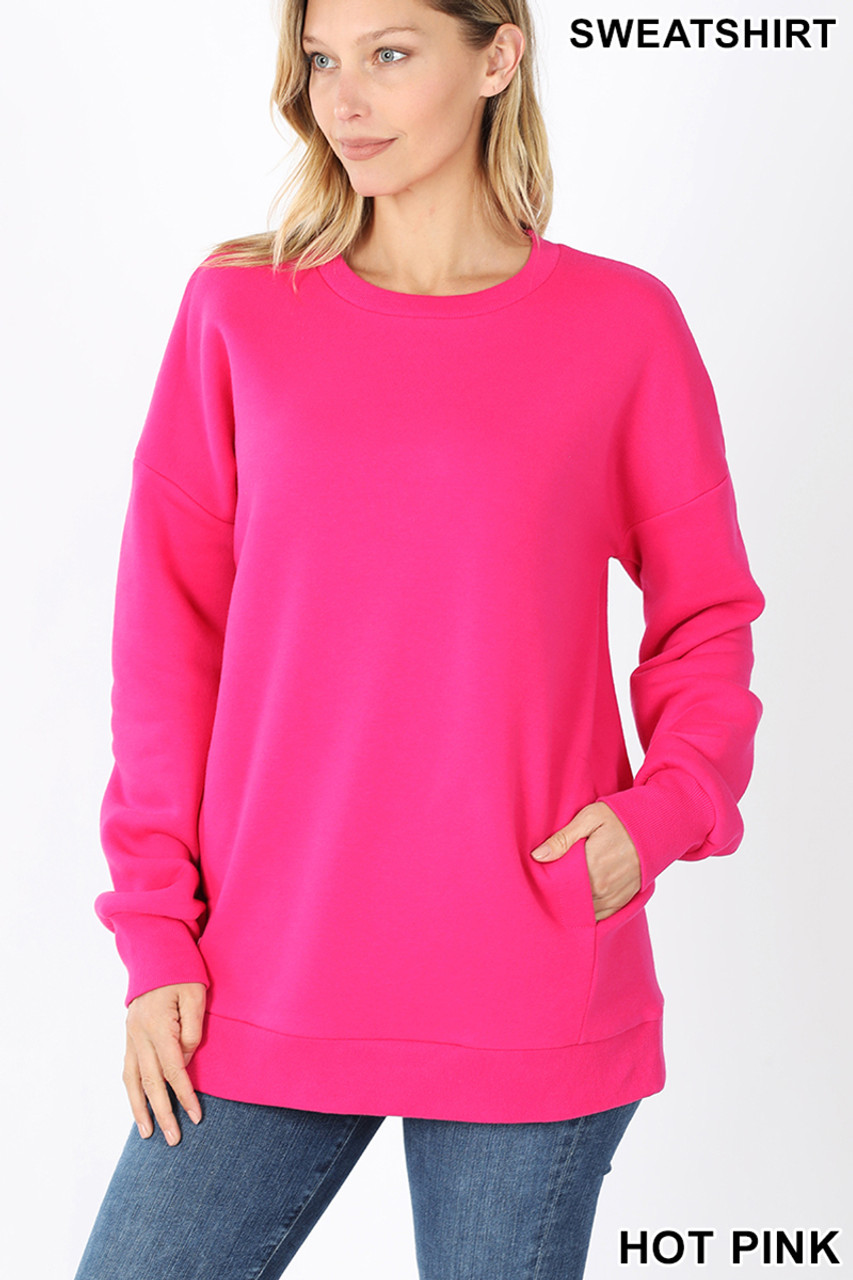 Front image of Hot Pink Round Crew Neck Sweatshirt with Side Pockets