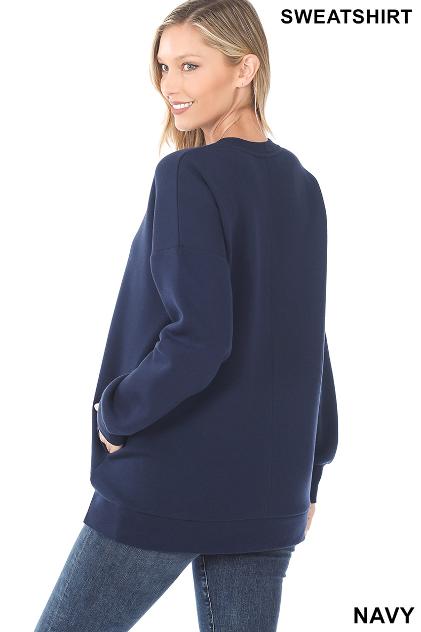 Partial back image of Navy Round Crew Neck Sweatshirt with Side Pockets
