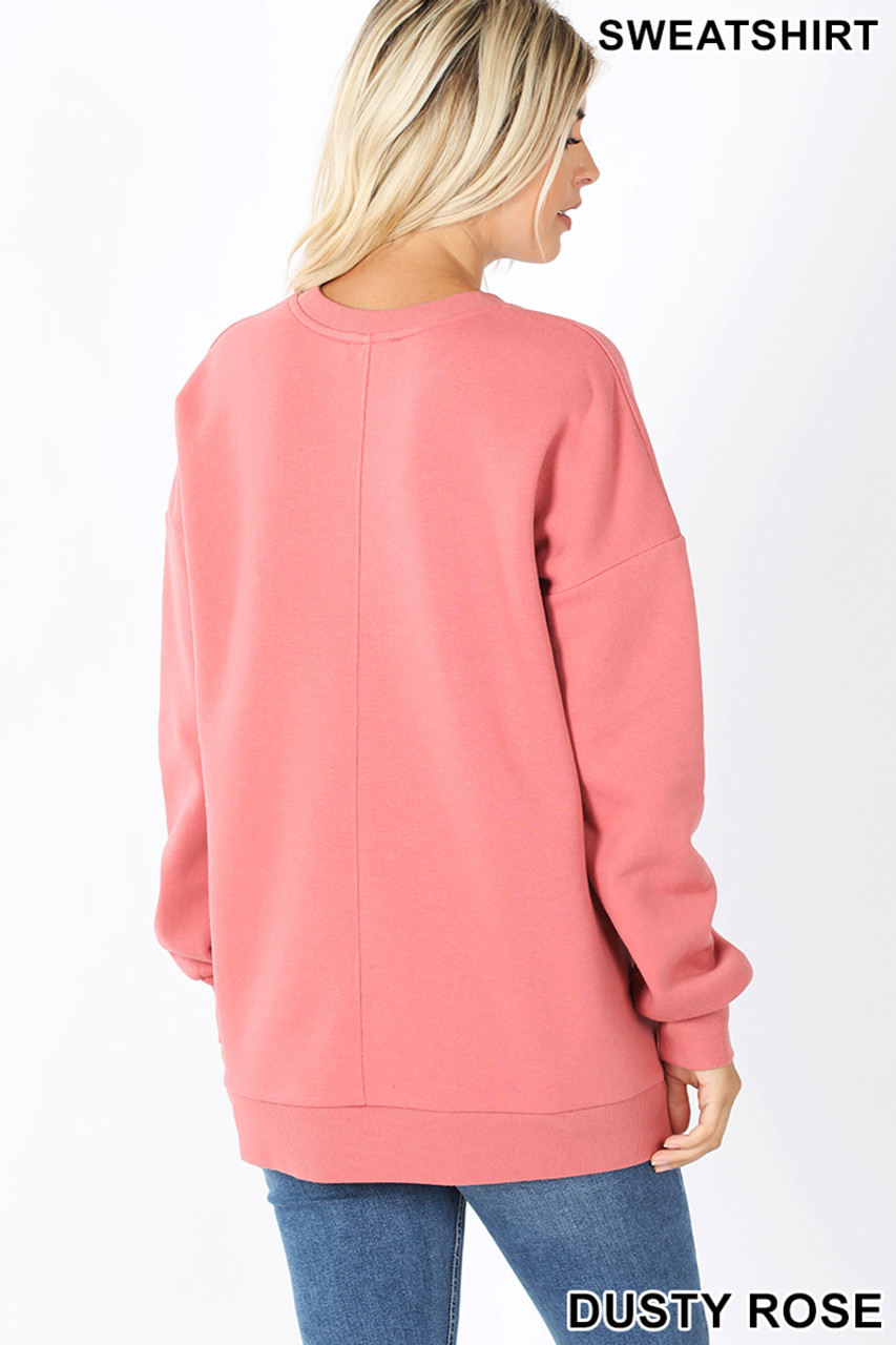 Back image of Dusty Rose Round Crew Neck Sweatshirt with Side Pockets