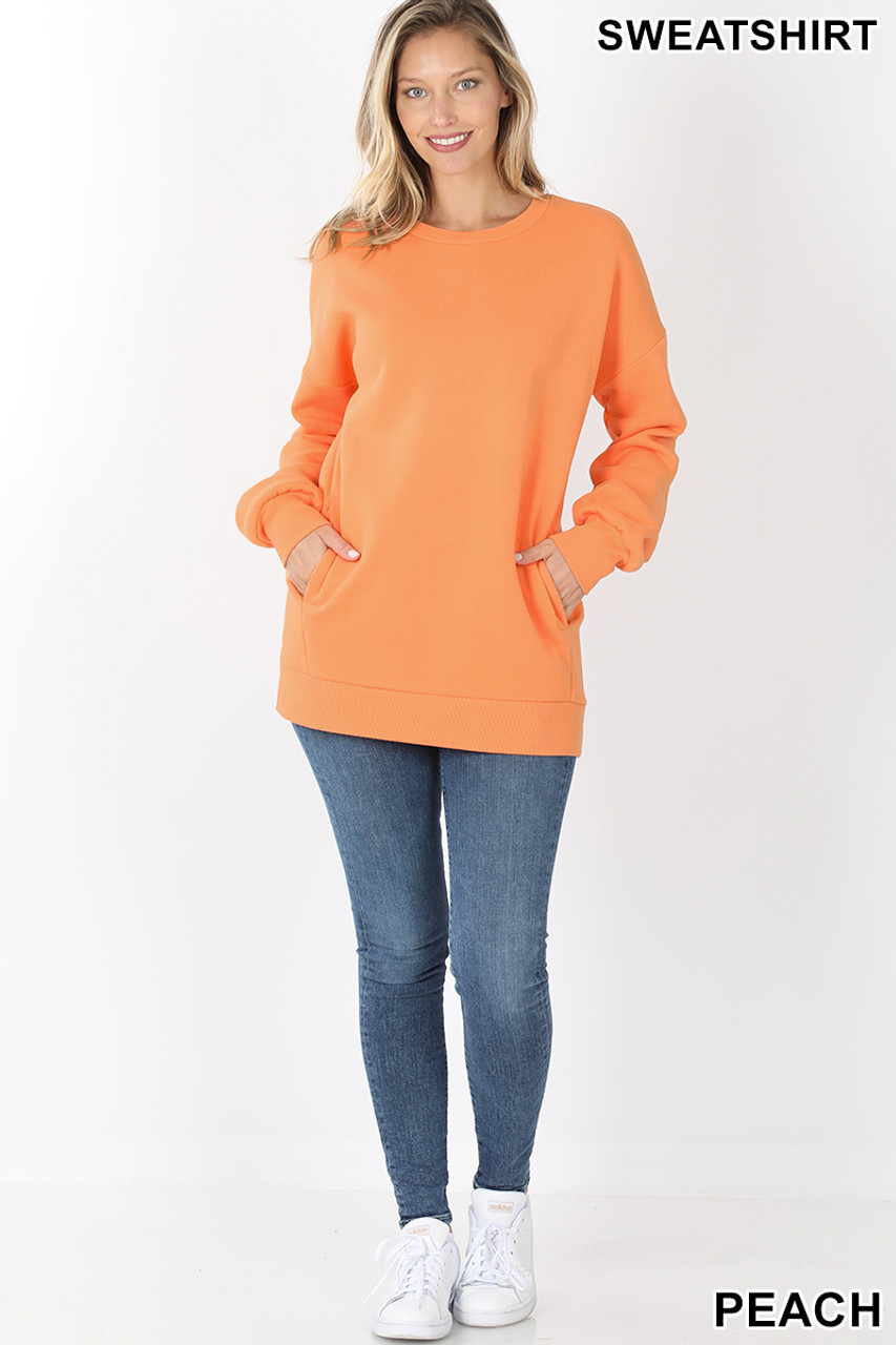 Full body image of Peach Round Crew Neck Sweatshirt with Side Pockets