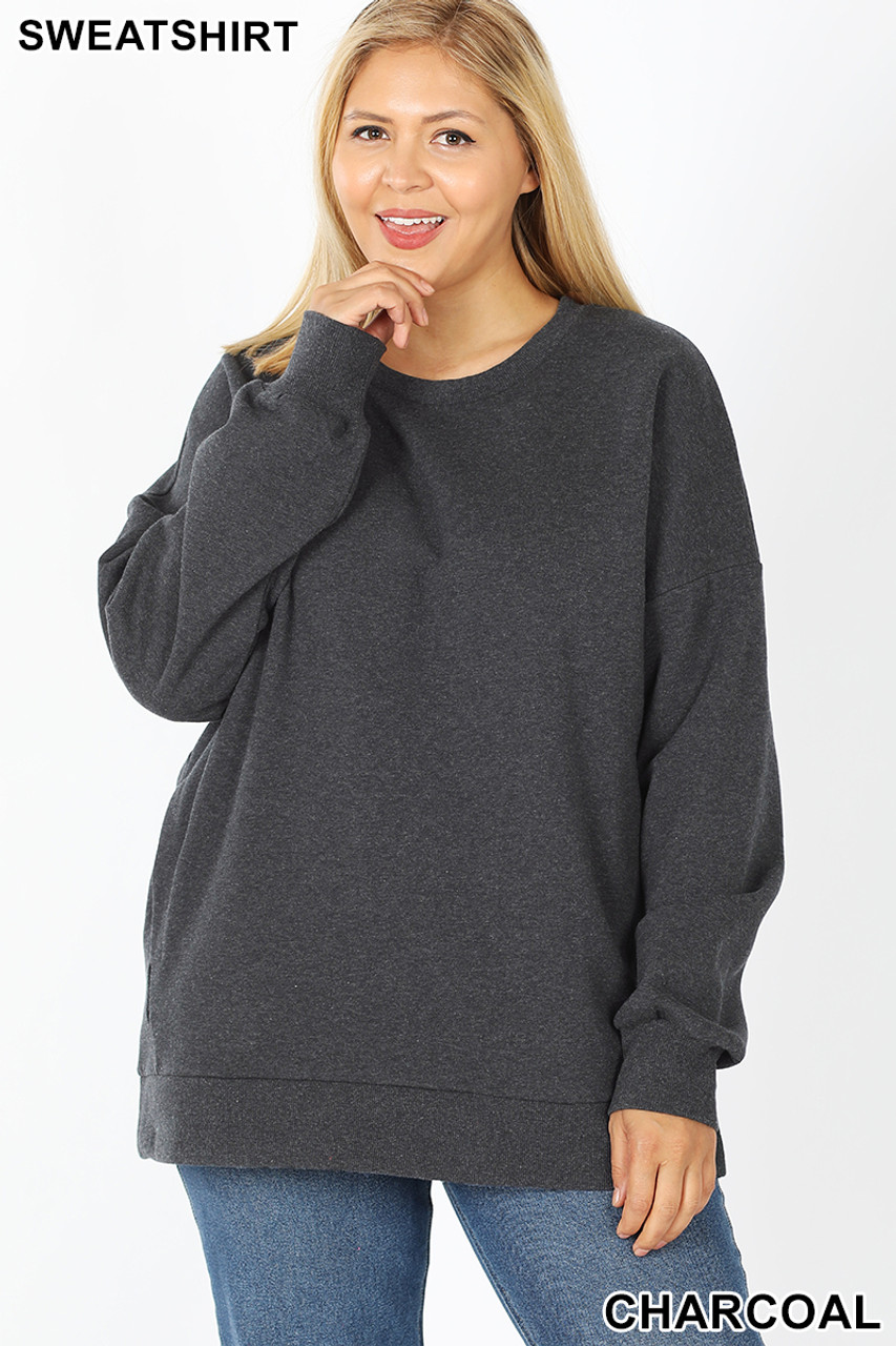 Front image of Charcoal  Cotton Round Crew Neck Plus Size Sweatshirt with Side Pockets