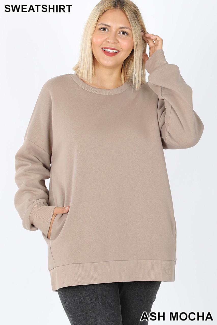 Front image of Ash Mocha Cotton Round Crew Neck Plus Size Sweatshirt with Side Pockets