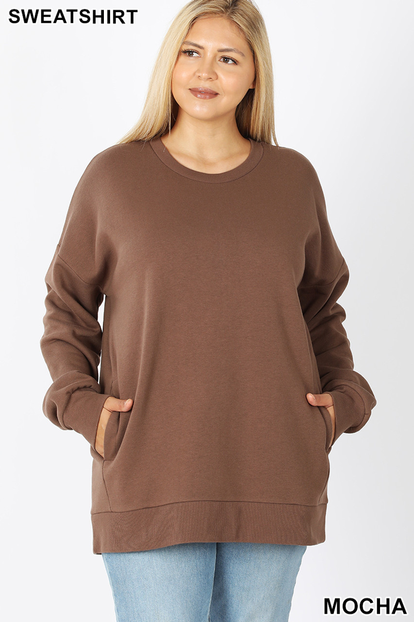Front image of Mocha Cotton Round Crew Neck Plus Size Sweatshirt with Side Pockets