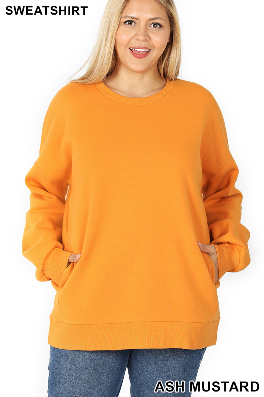 Front image of Ash Mustard Cotton Round Crew Neck Plus Size Sweatshirt with Side Pockets