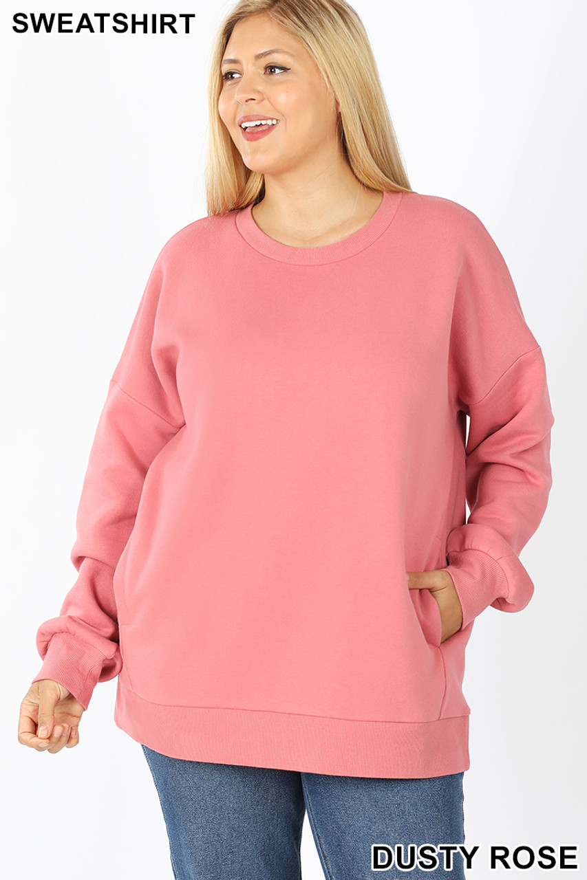 Front image of Dusty Rose Cotton Round Crew Neck Plus Size Sweatshirt with Side Pockets