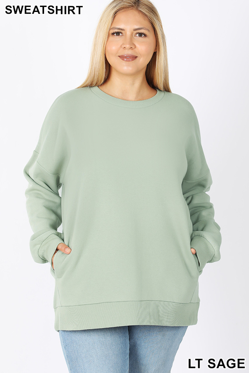 Front image of Light Green Cotton Round Crew Neck Plus Size Sweatshirt with Side Pockets