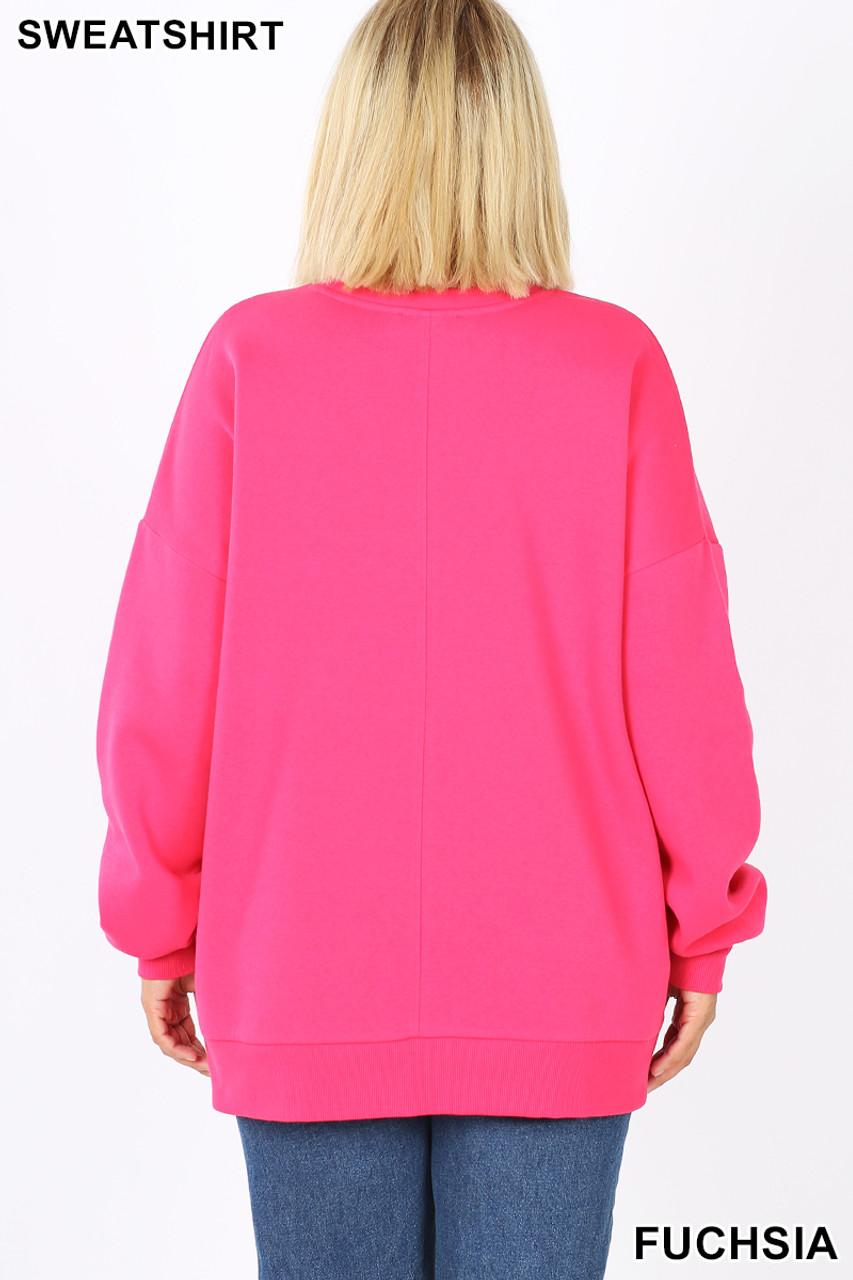 Back image of Fuchsia Cotton Round Crew Neck Plus Size Sweatshirt with Side Pockets