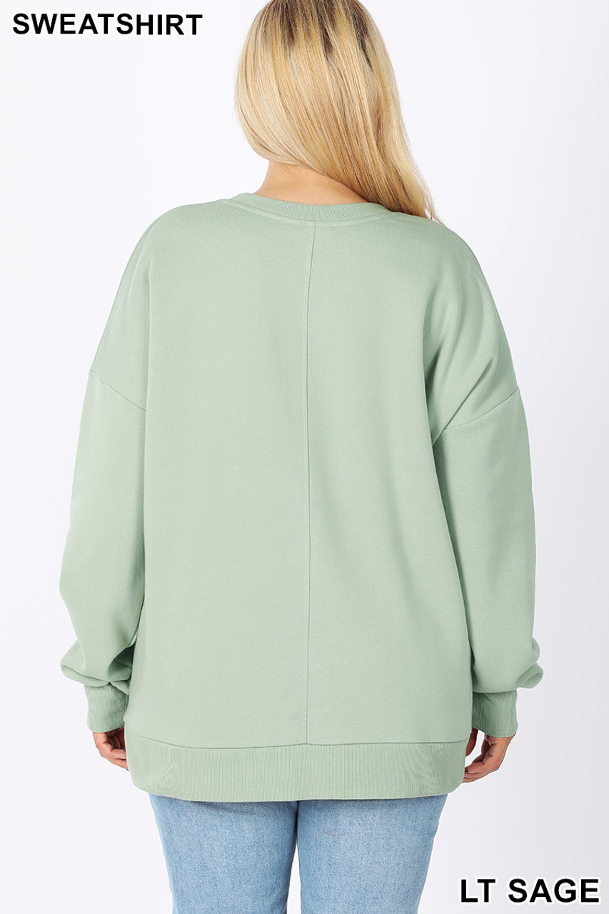 Back image of Light Green Cotton Round Crew Neck Plus Size Sweatshirt with Side Pockets