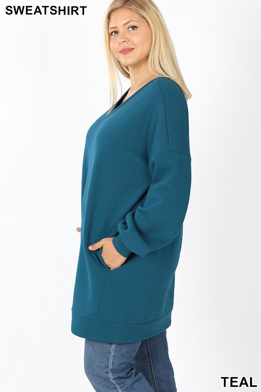 Left side image of Teal Oversized V-Neck Longline Plus Size Sweatshirt with Pockets
