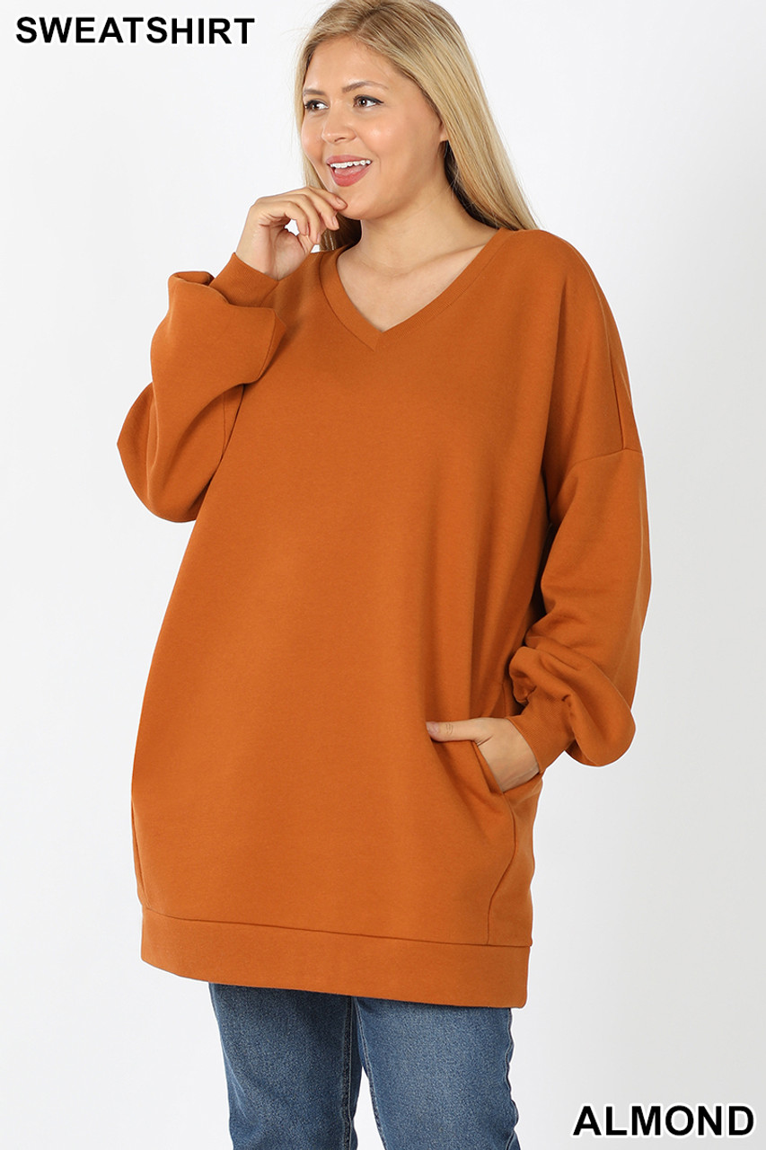 Front image of Almond Oversized V-Neck Longline Plus Size Sweatshirt with Pockets