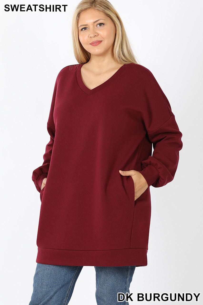Front image of Dark Burgundy Oversized V-Neck Longline Plus Size Sweatshirt with Pockets