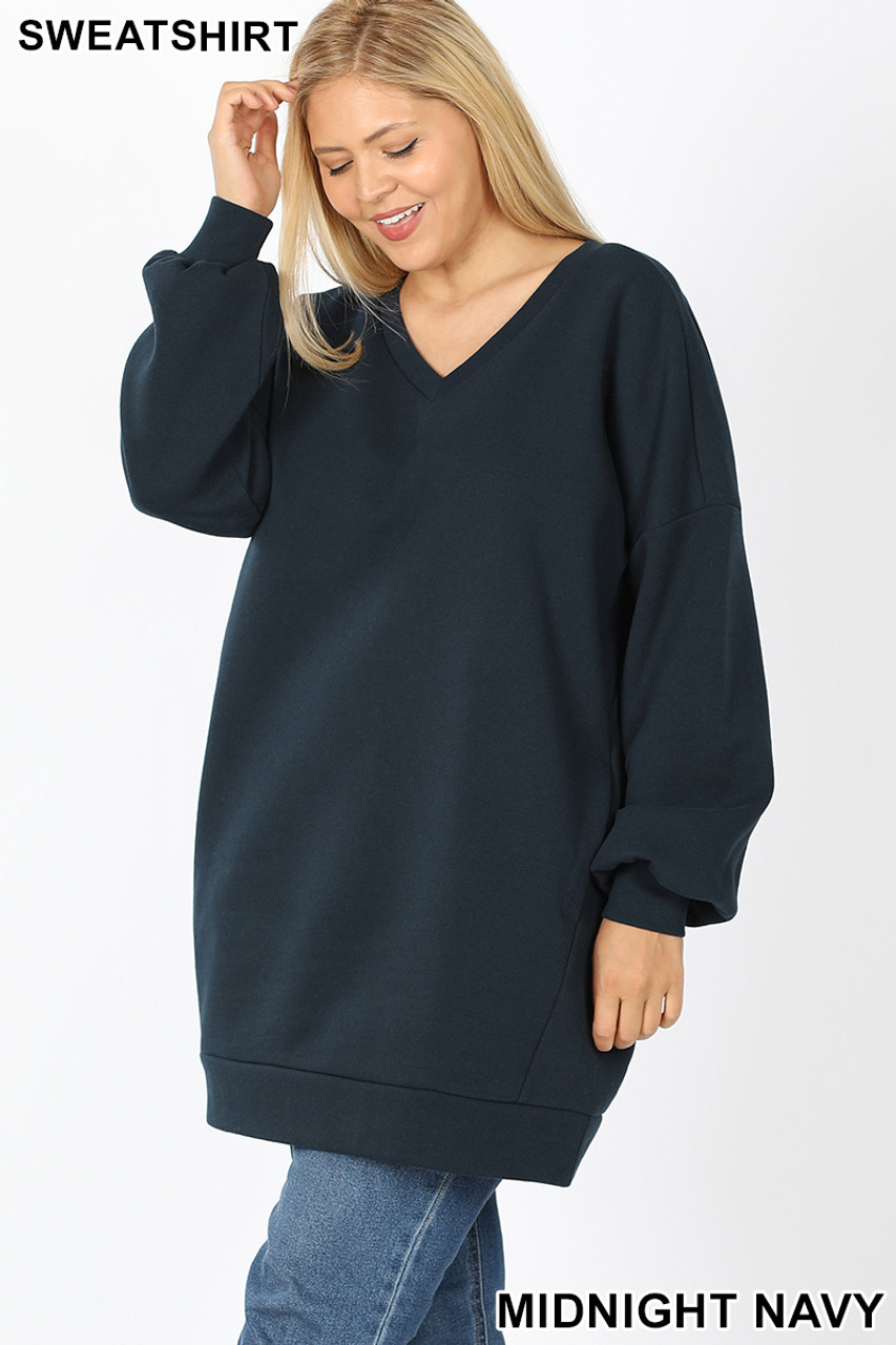 Slightly turned image of Midnight Navy Oversized V-Neck Longline Plus Size Sweatshirt with Pockets