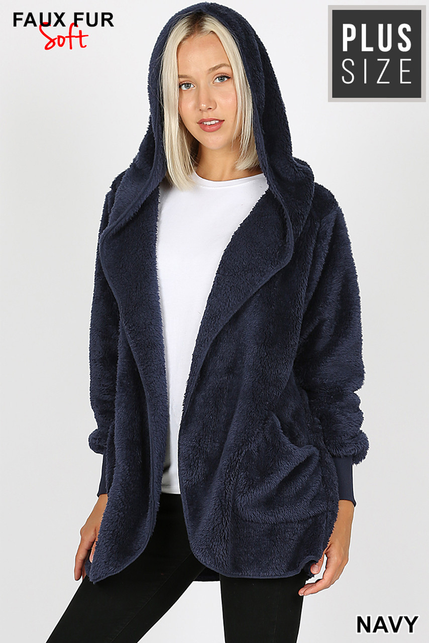 Front Image of Navy Faux Fur Hooded Cocoon Plus Size Jacket with Pockets showing hood up