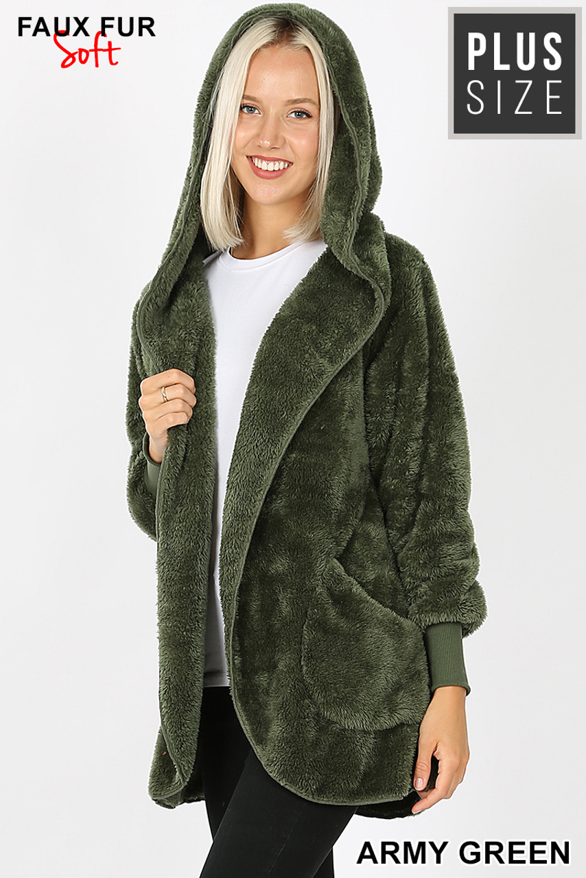 Slightly turned Image of Army Green Faux Fur Hooded Cocoon Plus Size Jacket with Pockets showing hood up