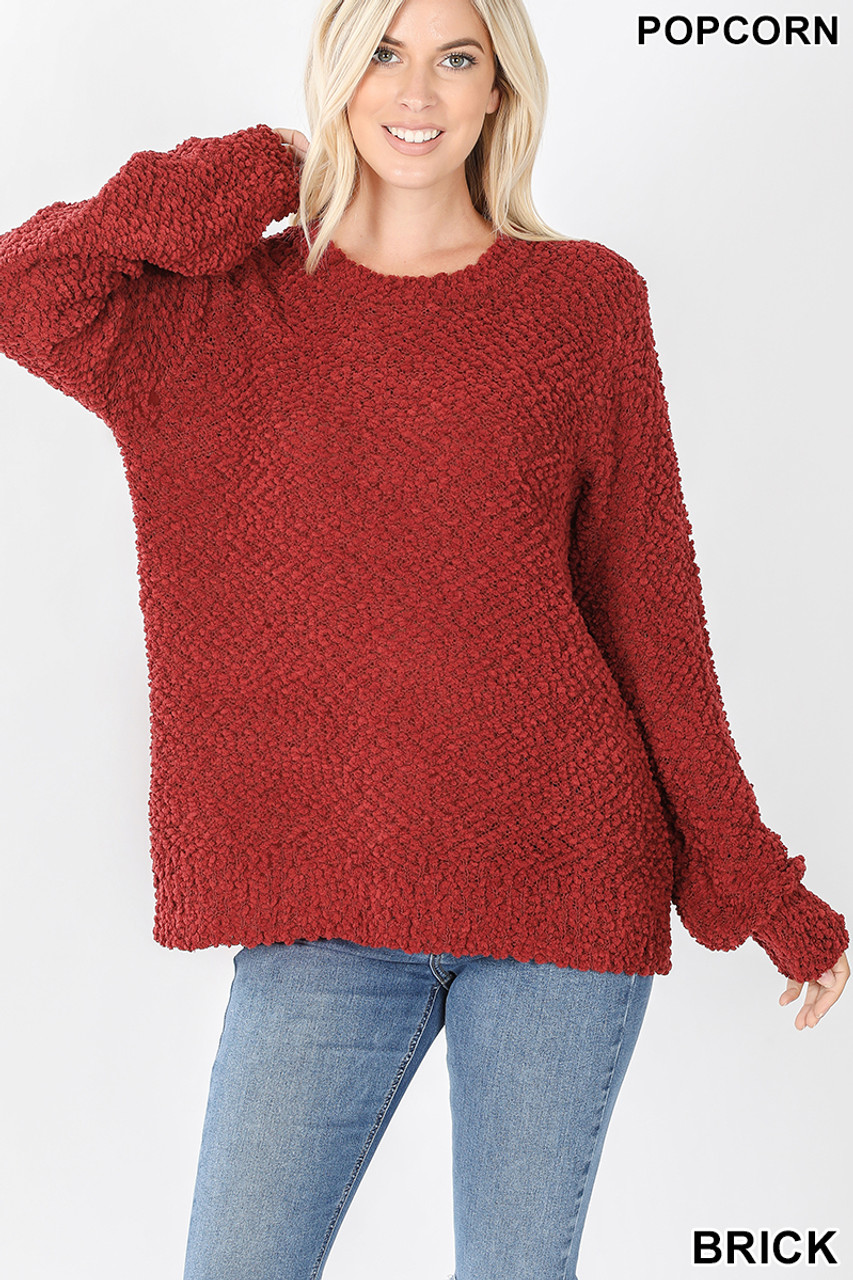 Front image of Brick Popcorn Balloon Sleeve Round Neck Pullover Sweater