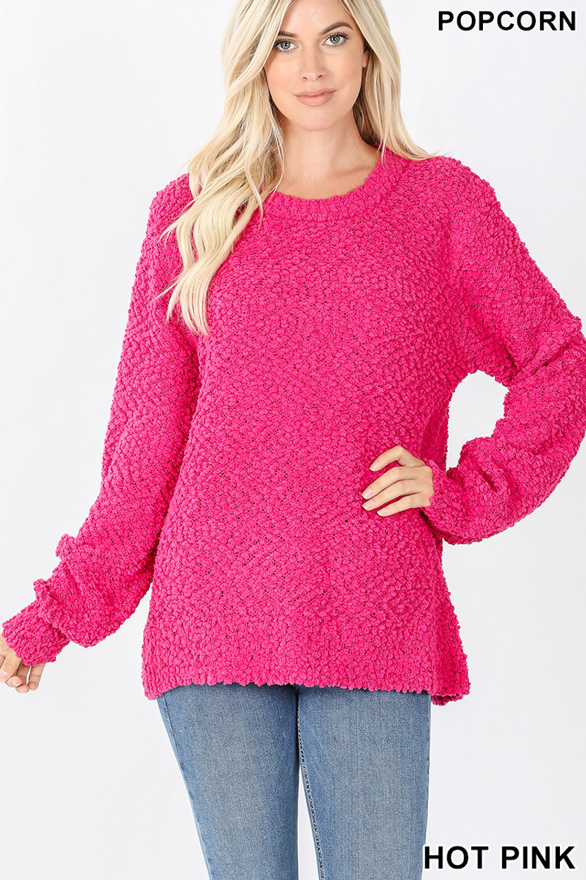 Front image of Hot Pink Popcorn Balloon Sleeve Round Neck Pullover Sweater