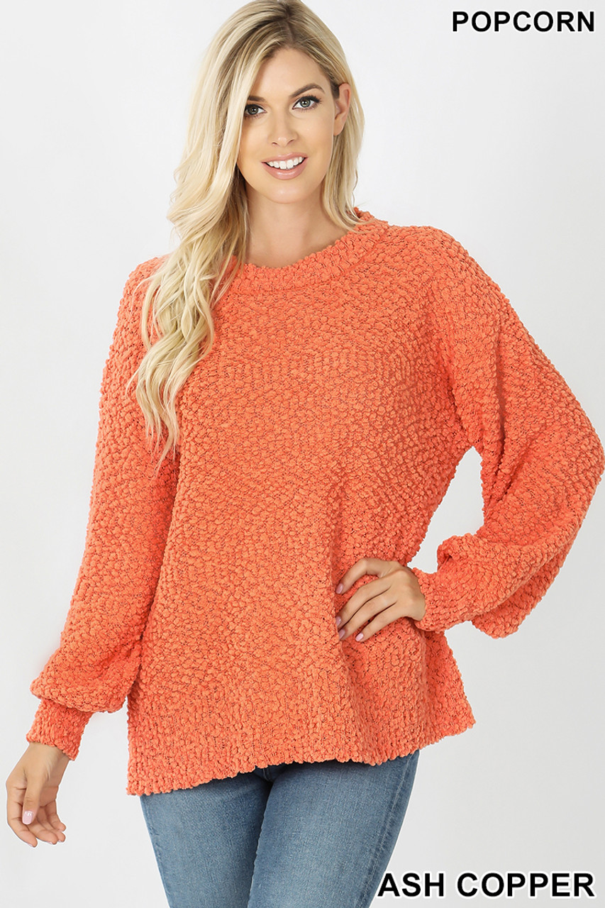 Front image of Ash Copper Popcorn Balloon Sleeve Round Neck Pullover Sweater