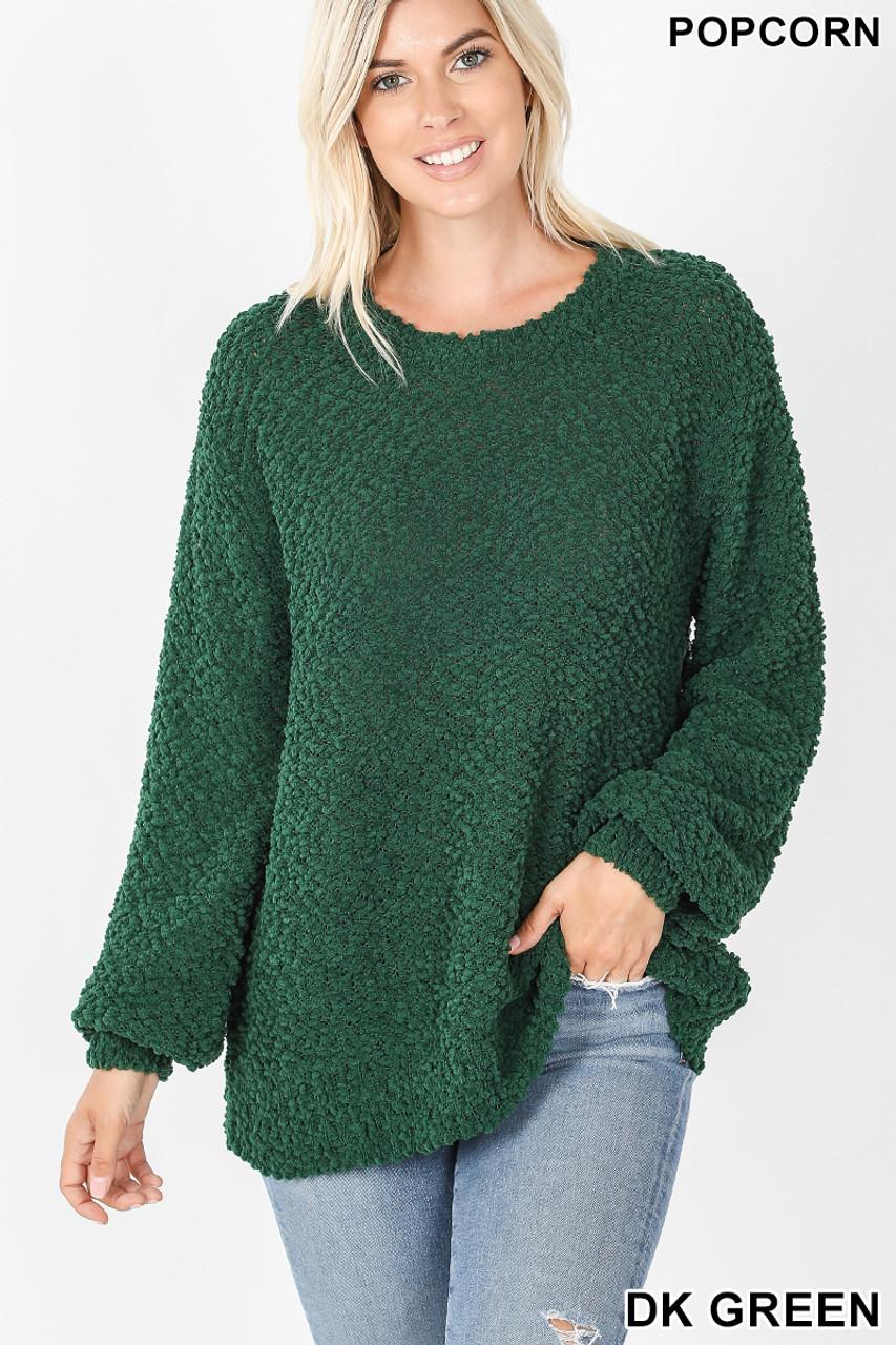 Front image of Dark Green Popcorn Balloon Sleeve Round Neck Pullover Sweater