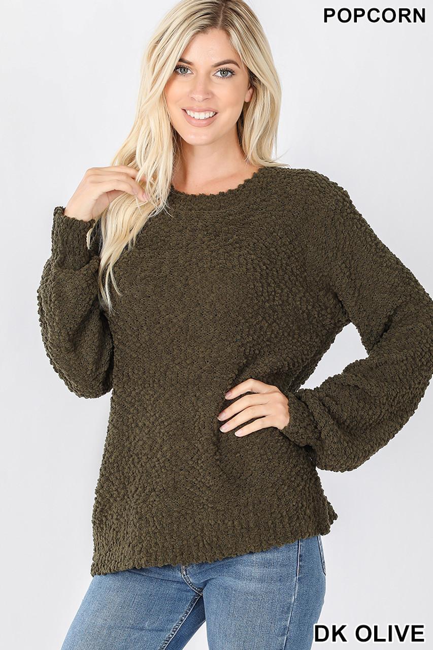Front image of Dark Olive Popcorn Balloon Sleeve Round Neck Pullover Sweater