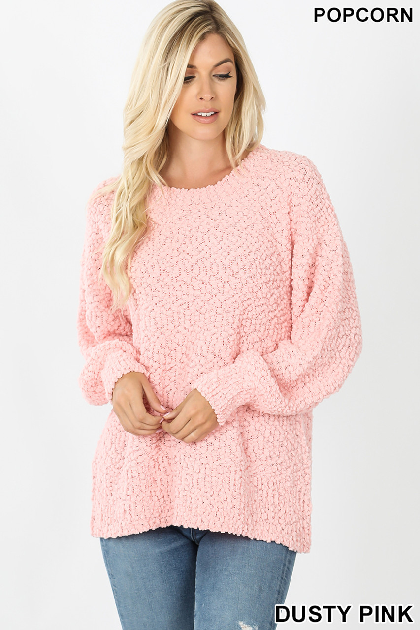 Front image of Dusty Pink Popcorn Balloon Sleeve Round Neck Pullover Sweater