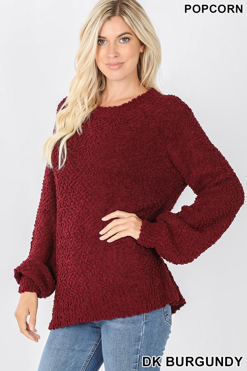 Slightly turned image of Dark Burgundy Popcorn Balloon Sleeve Round Neck Pullover Sweater