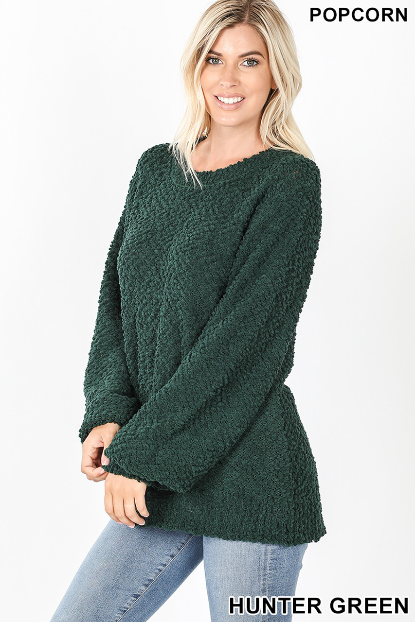 Left side image of Hunter Popcorn Balloon Sleeve Round Neck Pullover Sweater