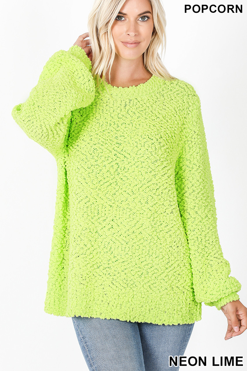 Front image of Neon Lime Popcorn Balloon Sleeve Round Neck Pullover Sweater