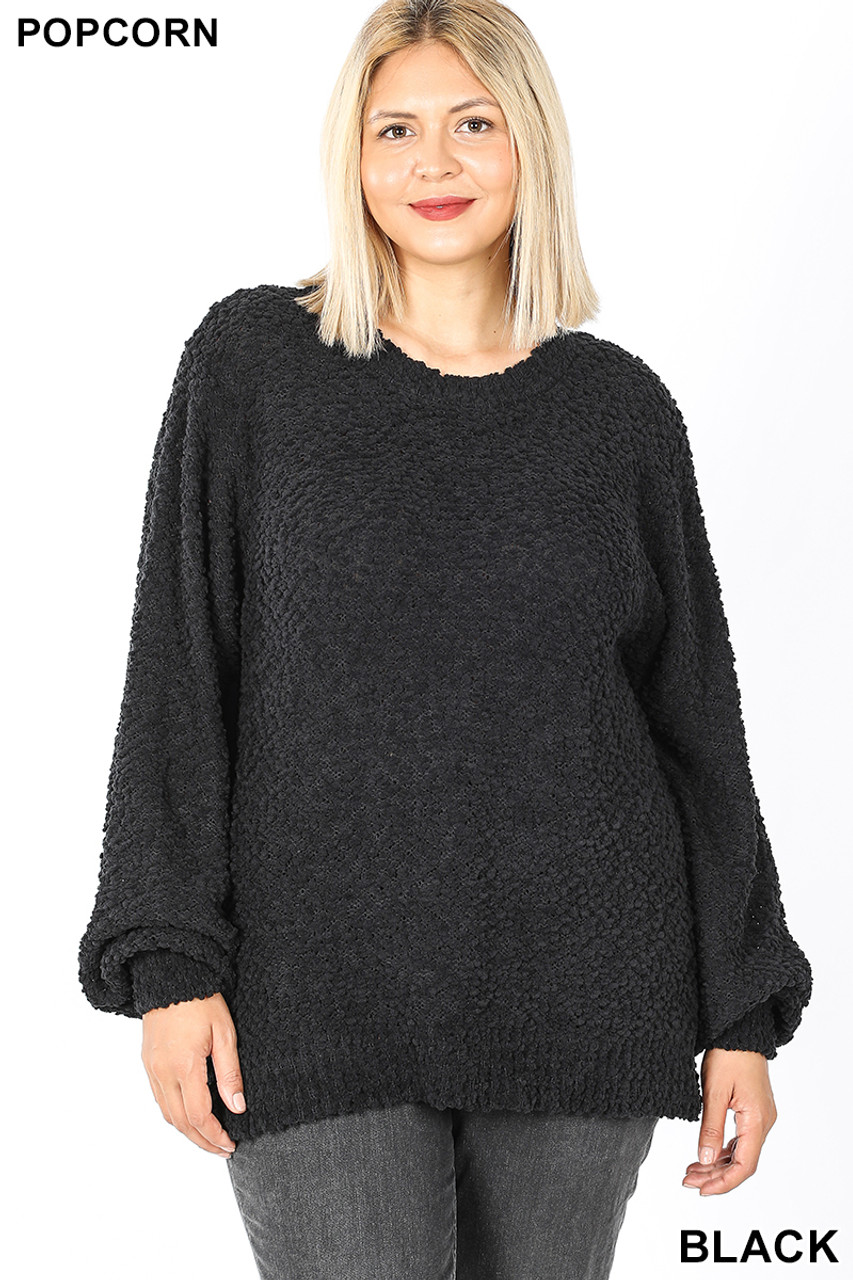 Front image of Black Popcorn Balloon Sleeve Round Neck Plus Size Pullover Sweater