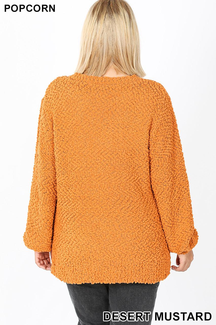 Back image of Desert Mustard Popcorn Balloon Sleeve Round Neck Plus Size Pullover Sweater
