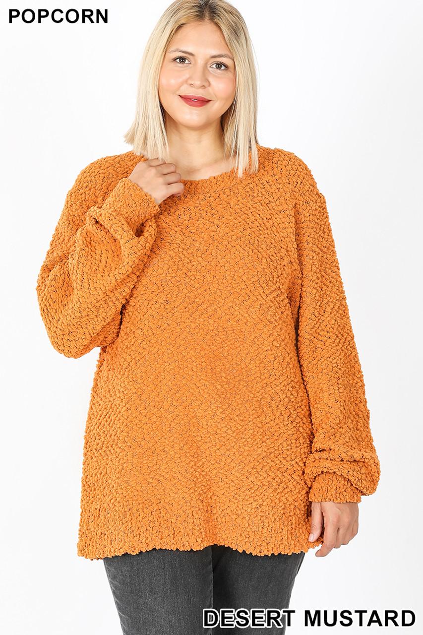 Front image of Desert Mustard Popcorn Balloon Sleeve Round Neck Plus Size Pullover Sweater