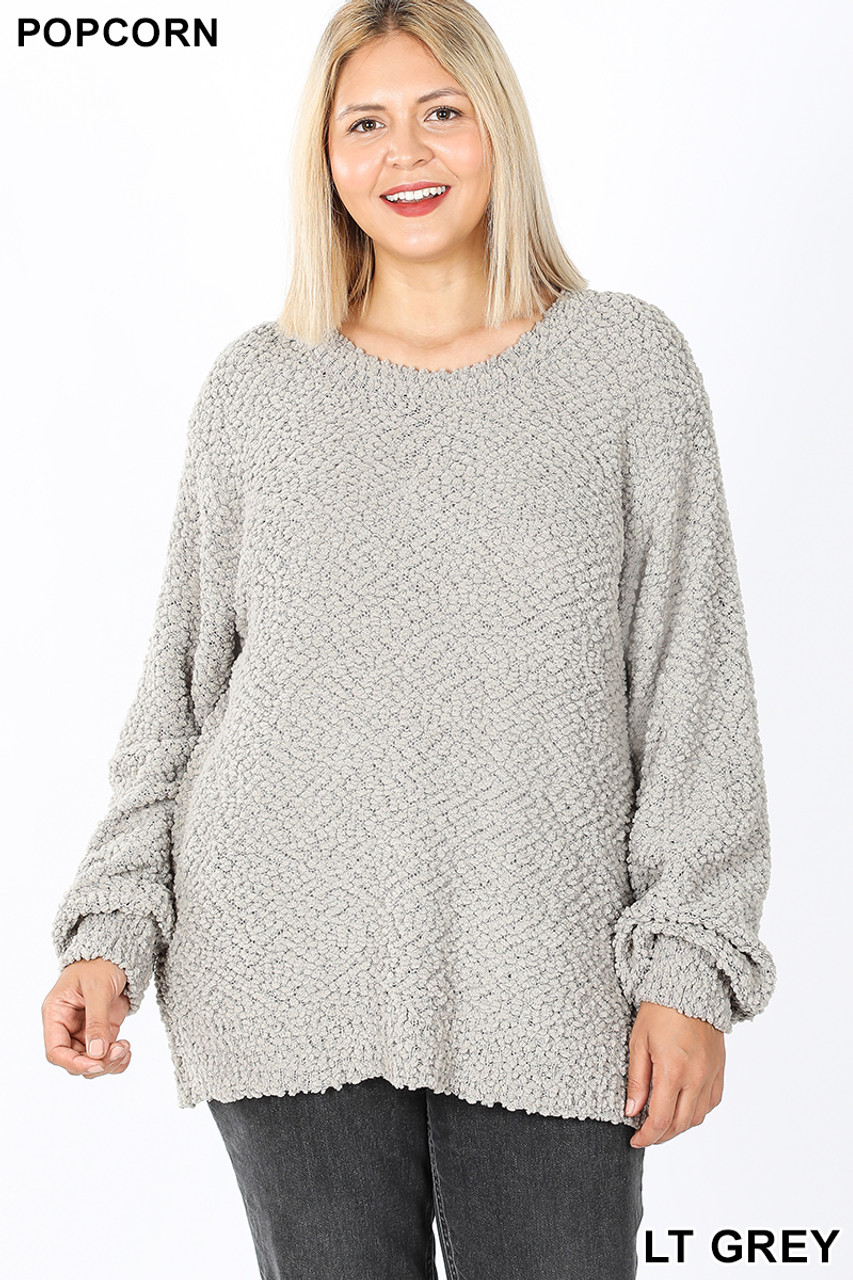 Front image of Light Grey Popcorn Balloon Sleeve Round Neck Plus Size Pullover Sweater