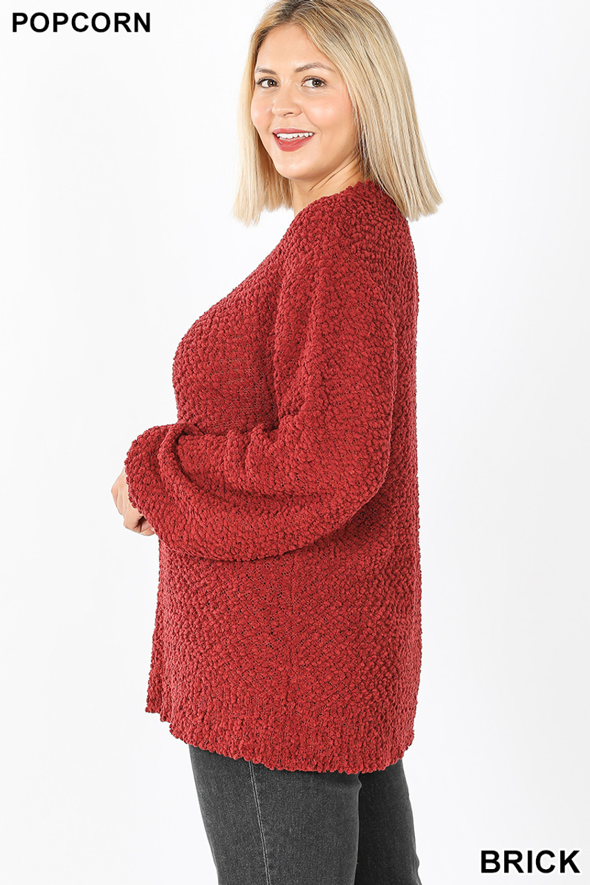 Left side image of Brick Popcorn Balloon Sleeve Round Neck Plus Size Pullover Sweater