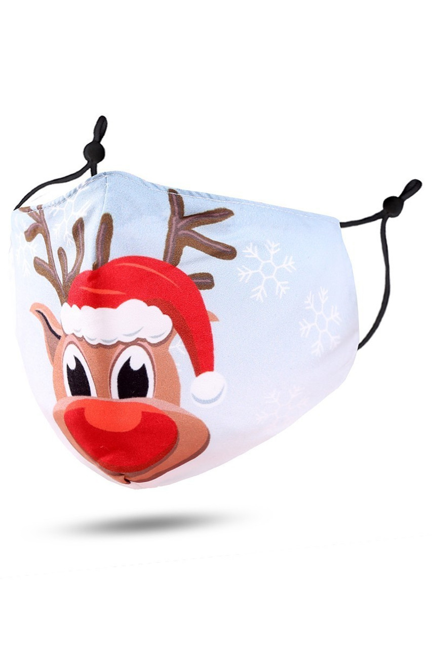 45 degree view of Cutie Pie Reindeer Christmas Face Mask with an adorable cartoon Rudolph design.