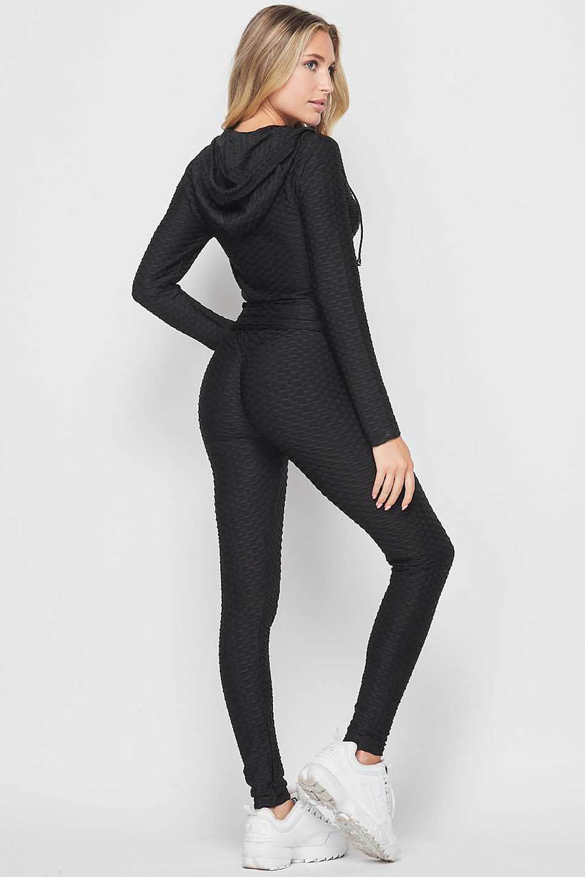 45 degree back view of Black 2 Piece Scrunch Butt Leggings and Hooded Jacket Set