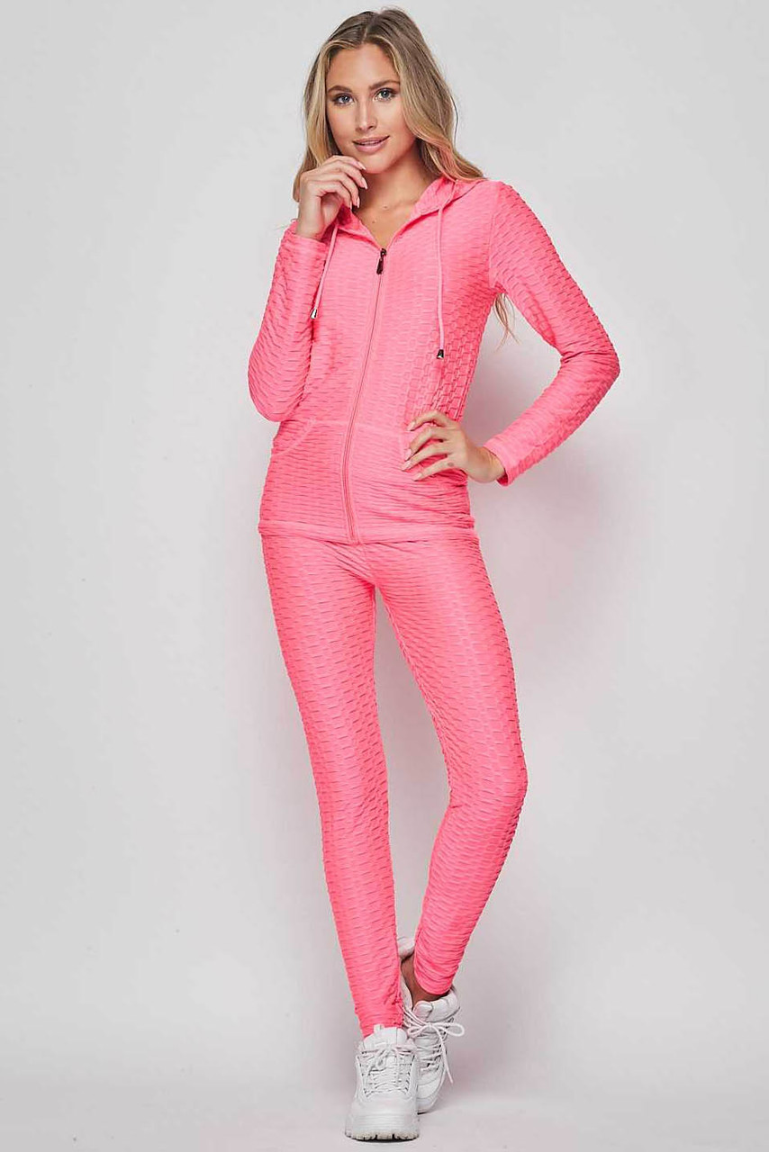 Front view of Neon Fuchsia 2 Piece Scrunch Butt Leggings and Hooded Jacket Set
