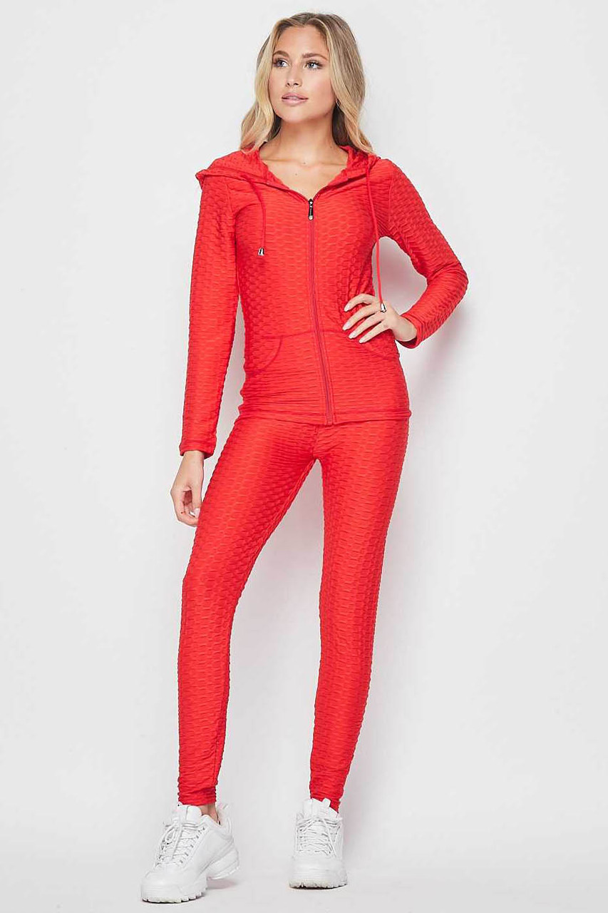 Front view of Red 2 Piece Scrunch Butt Leggings and Hooded Jacket Set