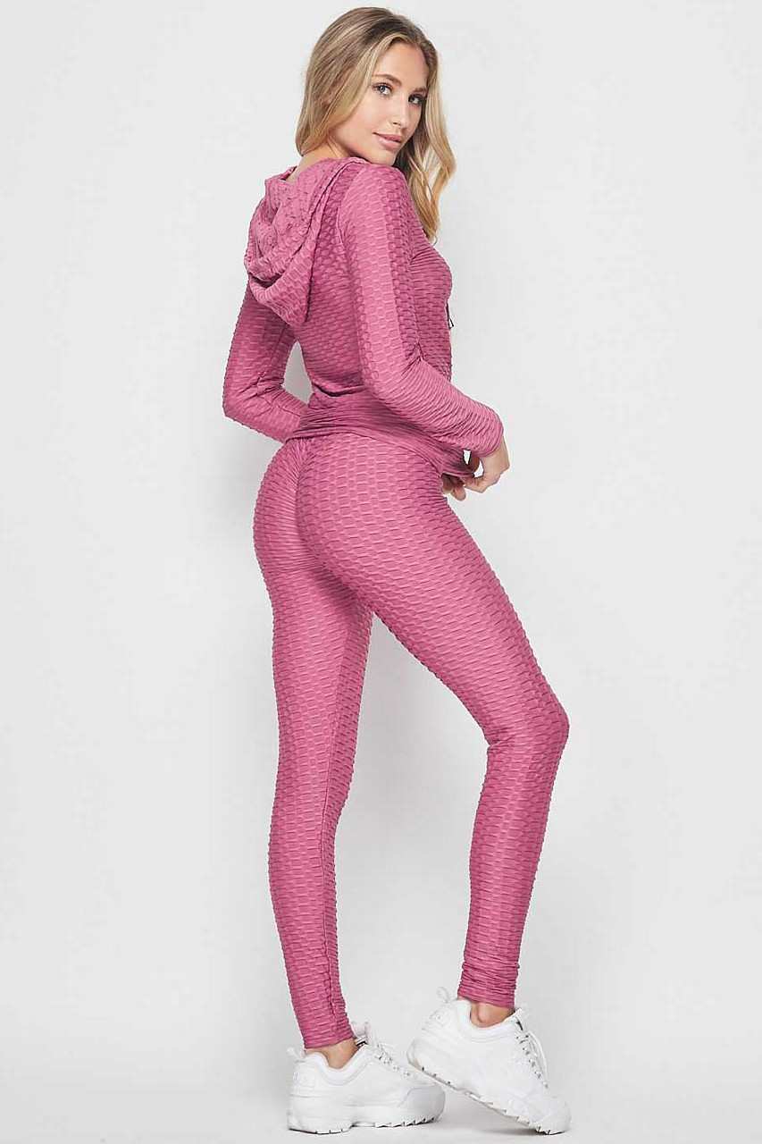45 degree back view of Mauve 2 Piece Scrunch Butt Leggings and Hooded Jacket Set