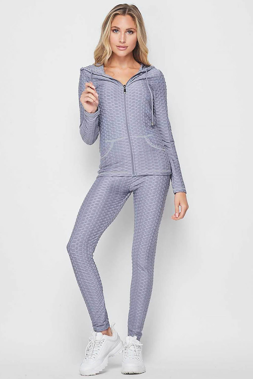 Front view of Light Grey 2 Piece Scrunch Butt Leggings and Hooded Jacket Set