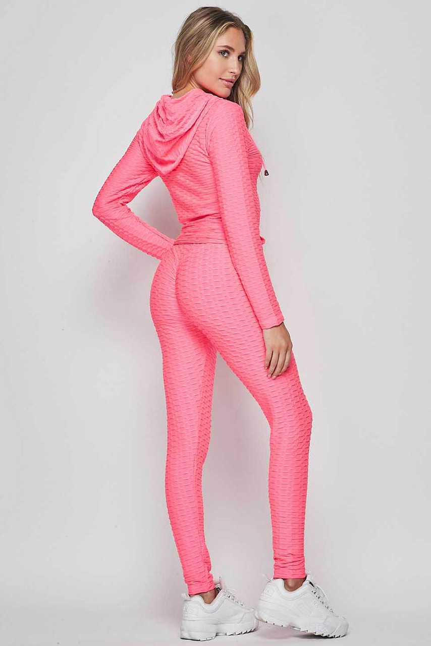 45 degree back view of Neon Fuchsia 2 Piece Scrunch Butt Leggings and Hooded Jacket Set