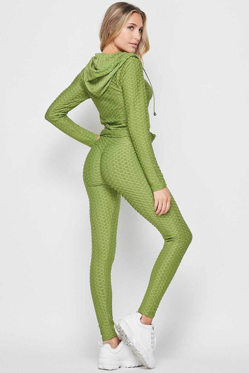 45 degree back view of Olive 2 Piece Scrunch Butt Leggings and Hooded Jacket Set