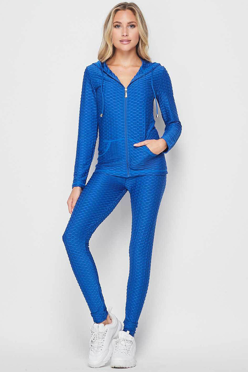 Front view of Blue 2 Piece Scrunch Butt Leggings and Hooded Jacket Set