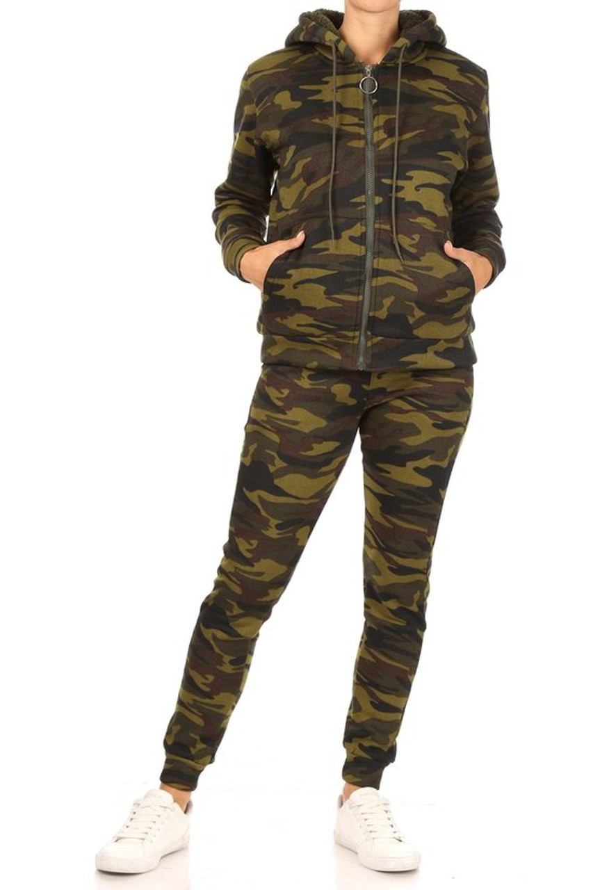 Front view of 2 Piece Fur Lined Camouflage Leggings and Hooded Jacket Set in a classic olive green color scheme.