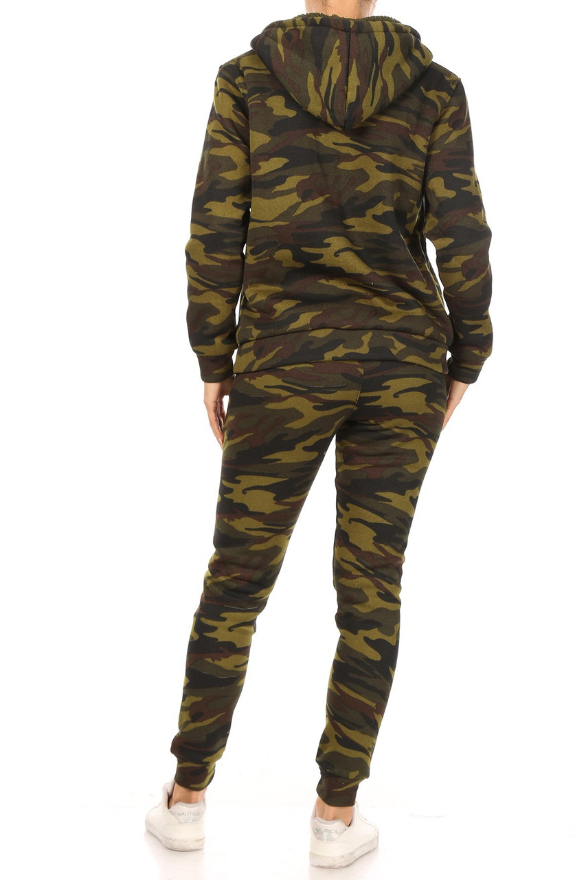 Back view of 2 Piece Fur Lined Camouflage Leggings and Hooded Jacket Set