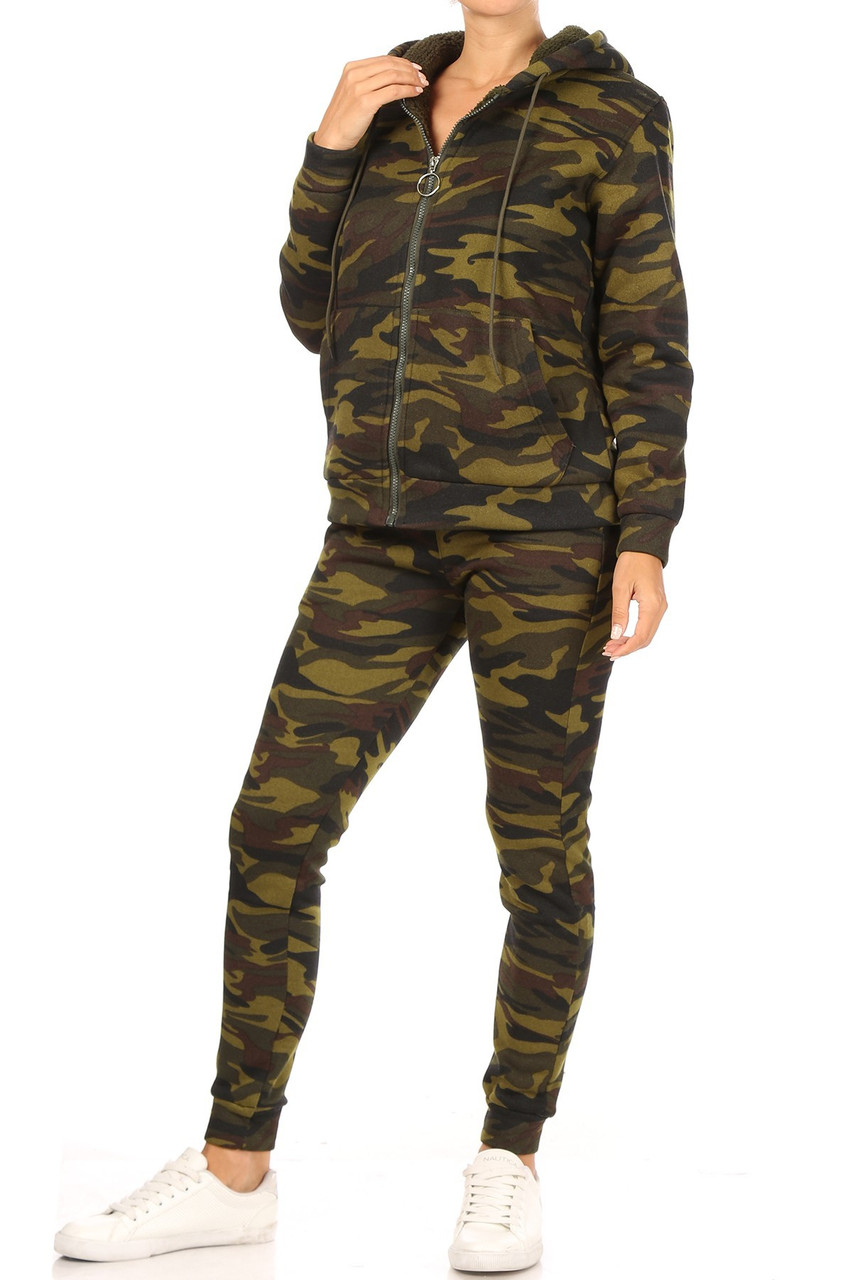 45 degree view of 2 Piece Fur Lined Camouflage Leggings and Hooded Jacket Set