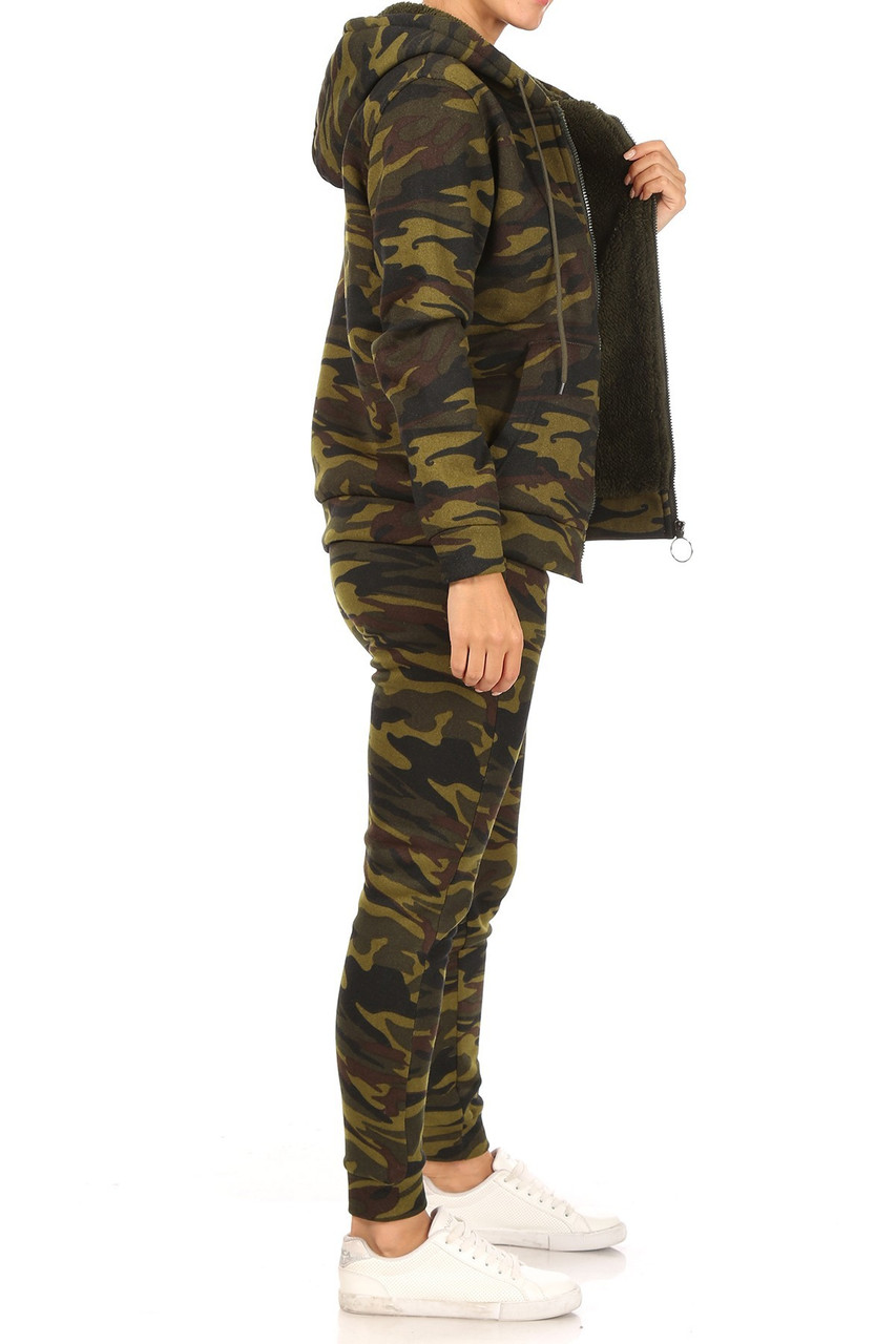 Left side view of 2 Piece Fur Lined Camouflage Leggings and Hooded Jacket Set