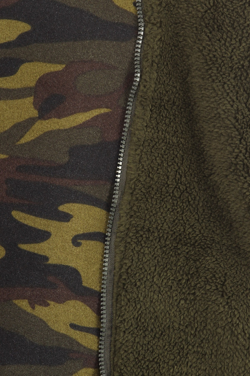 Close up fabric swatch of 2 Piece Fur Lined Camouflage Leggings and Hooded Jacket Set