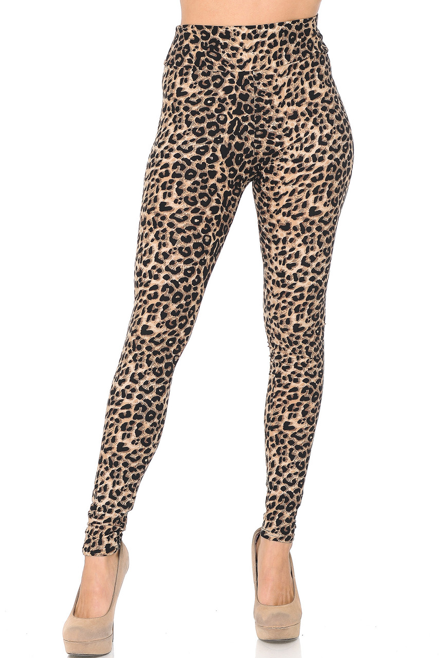 Front view of Buttery Soft Feral Cheetah High Waisted Leggings with a comfort fabric waist.
