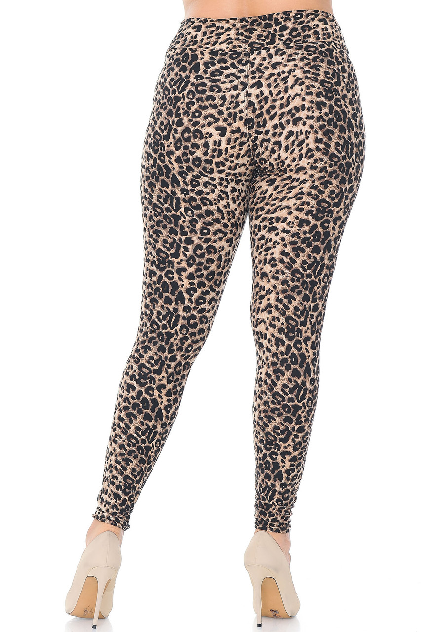 Rear view of Buttery Soft Feral Cheetah Plus Size High Waisted Leggings