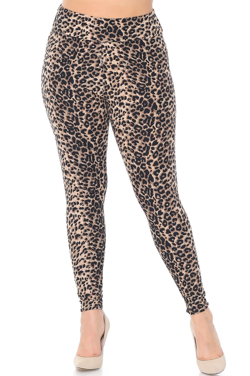 Front view of Buttery Soft Feral Cheetah Plus Size High Waisted Leggings with a comfort fabric waist.